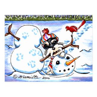 Schnauzer Building Snowman Off-Leash Art™ Postcard