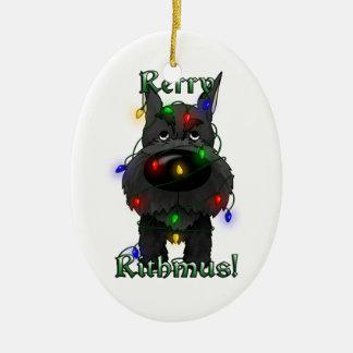Schnauzer - Christmas Lights Ceramic Ornament