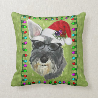 Schnauzer Christmas Throw Pillow