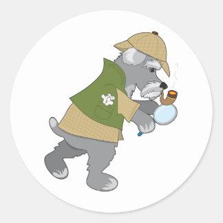 Schnauzer Detective Round Sticker