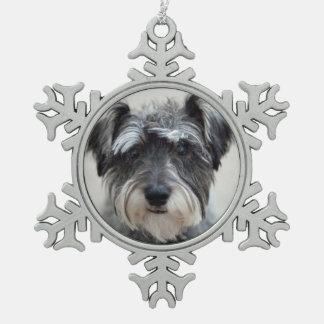 Schnauzer Dog Pewter Snowflake Ornament