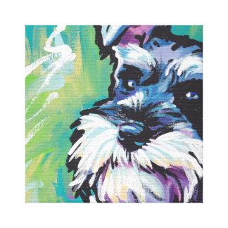 Schnauzer Dog Pop Art on Stretched Canvas