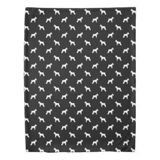 Schnauzer Dog SIlhouette - black and white bedding Duvet Cover