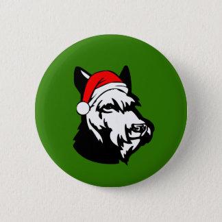 Schnauzer Dog with Christmas Santa Hat 2 Inch Round Button
