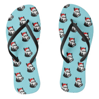 Schnauzer Dog with Christmas Santa Hat Pattern Flip Flops