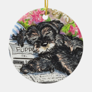 Schnauzer Dreams Print Ceramic Ornament