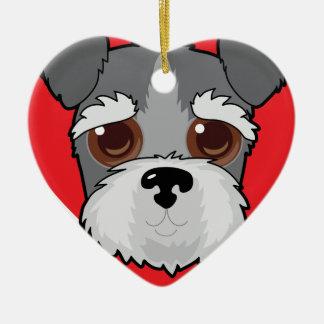 Schnauzer Face Ceramic Heart Ornament
