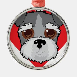 Schnauzer Face Silver-Colored Round Ornament
