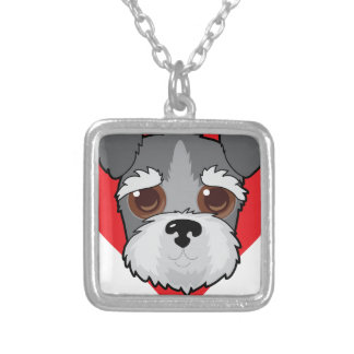 Schnauzer Face Silver Plated Necklace