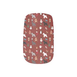 Schnauzer Finger Nail Art Christmas
