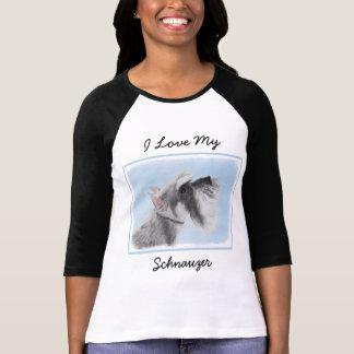 Schnauzer (Giant, Standard) 2 Painting - Dog Art T-Shirt