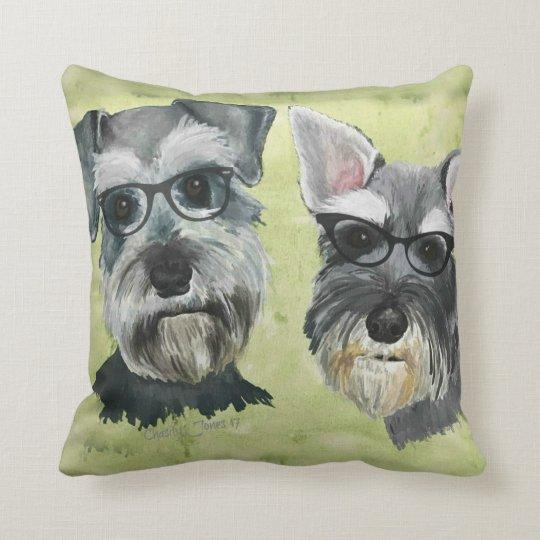 Schnauzer Groovy Glasses Throw Pillow