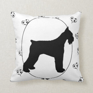 Schnauzer Hearts and Pawprints Throw Pillow