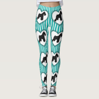 Schnauzer Hearts and Stripes Leggings