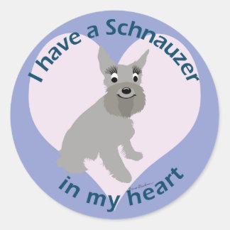 Schnauzer In My Heart Classic Round Sticker