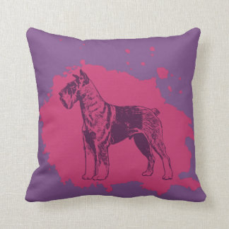 Schnauzer in Purple Splash Cushion