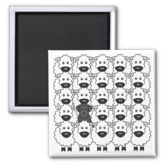Schnauzer in the Sheep Square Magnet