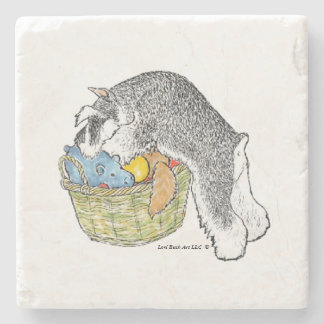 Schnauzer in Toy Basket Marble Coaster