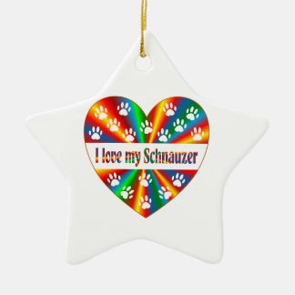 Schnauzer Love Ceramic Star Ornament