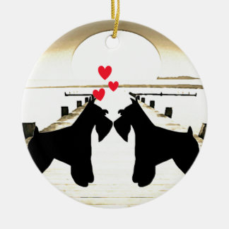 Schnauzer Love Round Ornament