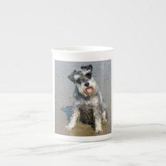 Schnauzer miniature dog cute photo at beach, gift tea cup