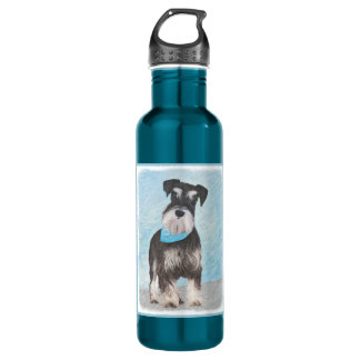 Schnauzer (Miniature) Painting - Cute Original Dog 710 Ml Water Bottle