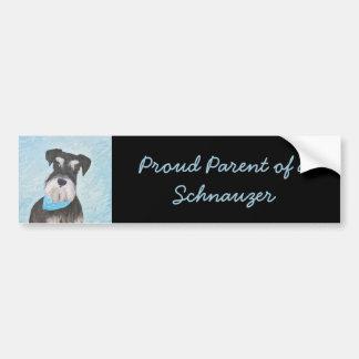 Schnauzer (Miniature) Painting - Cute Original Dog Bumper Sticker