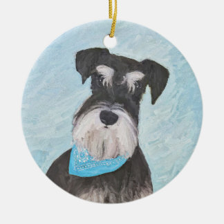 Schnauzer (Miniature) Painting - Cute Original Dog Ceramic Ornament
