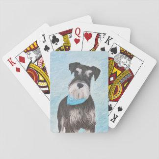 Schnauzer (Miniature) Painting - Cute Original Dog Playing Cards