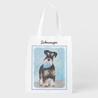 Schnauzer (Miniature) Painting - Cute Original Dog Reusable Grocery Bag