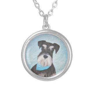 Schnauzer (Miniature) Painting - Cute Original Dog Silver Plated Necklace
