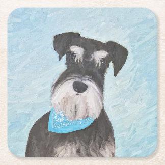 Schnauzer (Miniature) Painting - Cute Original Dog Square Paper Coaster