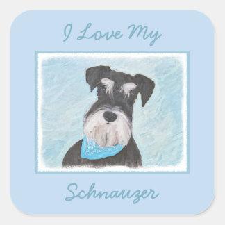 Schnauzer (Miniature) Painting - Cute Original Dog Square Sticker