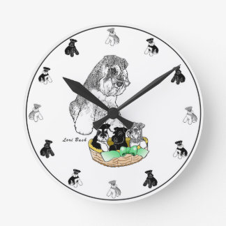 Schnauzer Mom & Pups Clock