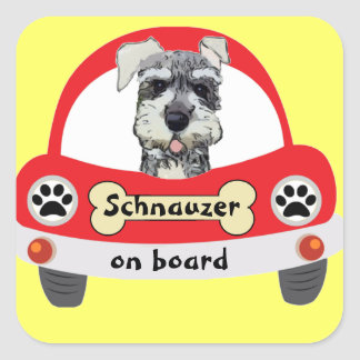 Schnauzer on Board Square Sticker