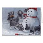 Schnauzer Pups and Snowman Dog Art Christmas Card