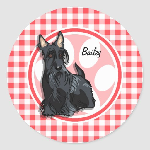 Schnauzer; Red and White Gingham Stickers