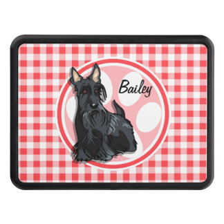 Schnauzer; Red and White Gingham Trailer Hitch Cover