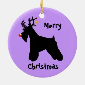 Schnauzer Reindeer Christmas Round Ceramic Ornament