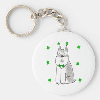 Schnauzer Saint Patricks Day Basic Round Button Keychain