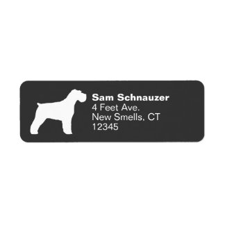 Schnauzer Silhouette (Natural Ears) Return Address Label