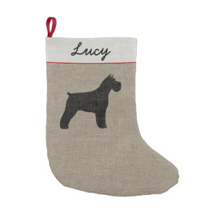 Schnauzer Silhouette with Custom Text Small Christmas Stocking