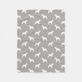 Schnauzer Silhouettes Pattern Fleece Blanket