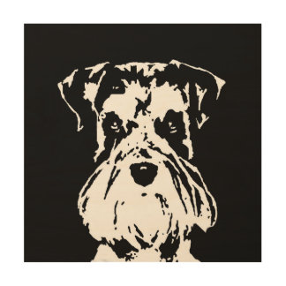 "Schnauzer Stencil Wood 12""x12"" Wall Art"