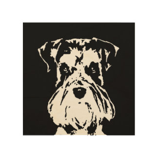 "Schnauzer Stencil Wood 8""x8"" Wall Art"