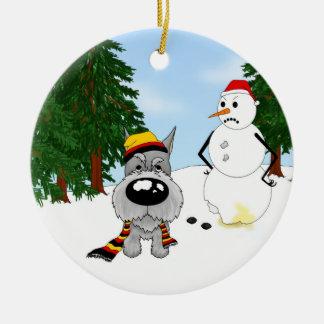 Schnauzer Winter Scene Ceramic Ornament