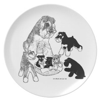 Schnauzer with Pups Plate