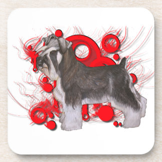 Schnauzer with Red Circles Beverage Coaster