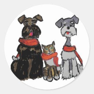 Schnauzers Caroling Classic Round Sticker