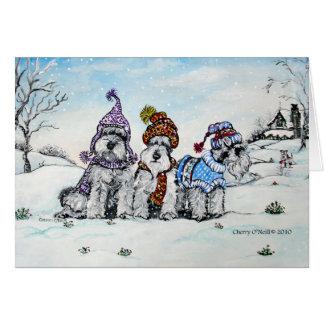 Schnauzers in Winter Card